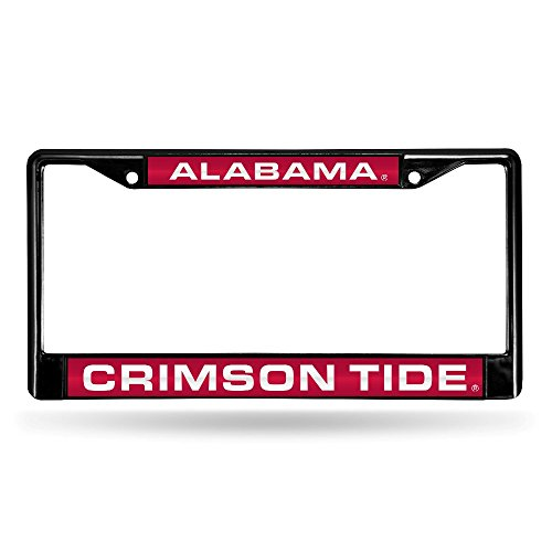 Rico Industries NCAA Alabama Crimson Tide Laser Cut Inlaid Standard Chrome License Plate Frame, 6