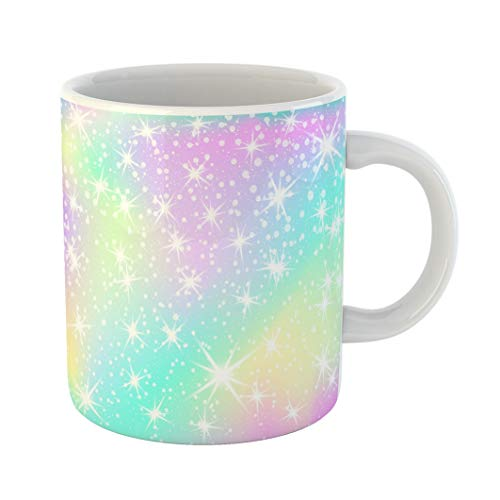 Emvency 11 Ounces Coffee Mug Blue 1980 Unicorn Rainbow Holographic Sky in Pastel Color Bright Mermaid Pattern Princess Fantasy Gradient Colorful Mesh Pink 80S White Ceramic Glossy Tea Cup gift