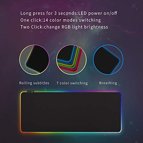 RGB Sorft Gaming Mouse Pad, Large Extended Mousepad, Non-Slip Rubber Base Computer Keyboard Pad Mat,31.5x11.8in