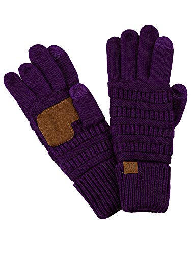 C.C Unisex Cable Knit Inner Lined Anti-Slip Touchscreen Texting Gloves, Purple