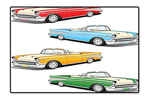 Machine-Washable Rugs Collection of Four Classic Car Roadsters Old Fashioned Transportation Illustration Bath Rug Mildew Resistant 6'6