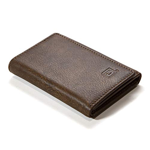 - Men's Genuine Leather Slim Trifold Wallet with Full RFID Protection Throughout - Exquisite Quality Buffalo Leather (Brown)