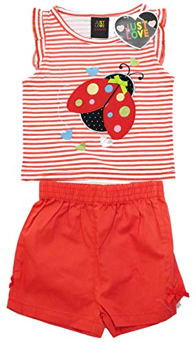 Bugs Two - Just Love Two Piece Girls Shorts Set, 4001-Red Bug, 2T