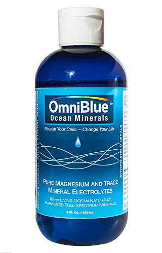OmniBlue Ocean Minerals | 100% Certified, Pure and Naturally Harvested Ocean Electrolytes as Naturally Occurring Macro & Trace Minerals | No Additives or Alterations … (8 oz.)