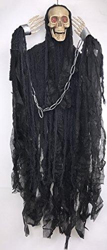 Morbid Enterprises Grim Reaper Skull Hanging Halloween Decorations (Black)