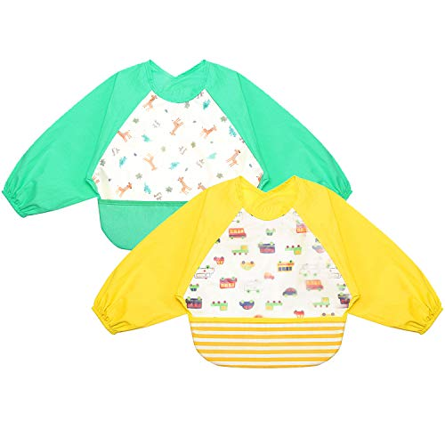 Baby Feeding Sleeved Bib - WoNiu Waterproof Toddler Baby for Boys and Girls Burp Cloth Set with Sleeves and Pocket Green & Yellow (2 Pack) from WoNiu