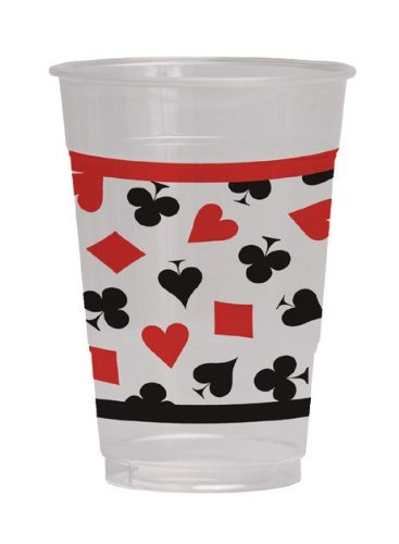 Creative Converting 8 Count Plastic Cups, 16-Ounce, Card Night