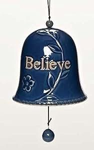 "Pack of 4 Giftware Cobalt Blue Inspirational ""Believe"" Porcelain Hanging Garden Bell Decorations 4.25"""