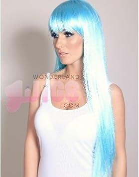 Lujoso larga Azul claro / azul bebé azul / turquesa Peluca - peluca recta extralarga -