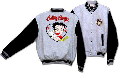 Licensed Betty Boop and Pudgy Her Pet Dog Baseball Jacket Gray and Black BJ-9028 (XXlarge)