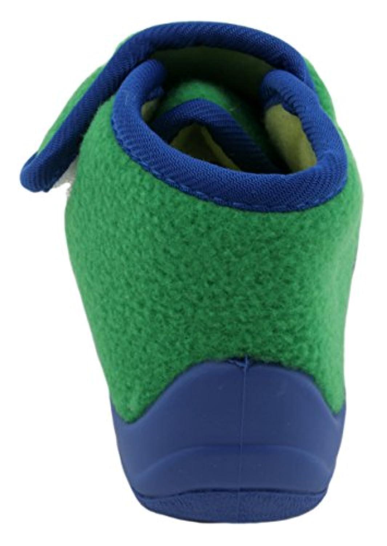 Slumberzzz Boys Velour Monster Velcro Fasten Bootie Slippers Green 4 Child UK