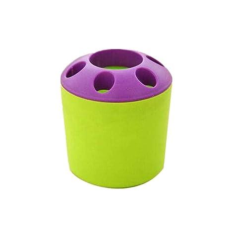 Cosanter Redonda Porta Cepillo de Dientes de Plástico Creativo Escritorio Organizador Verde