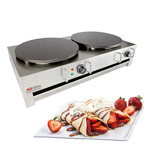 ALDKitchen Electric Crepe Machine Griddle, Commercial Electric Plate Crepe Machine Snack Machine Electric Hot Plate (Double)