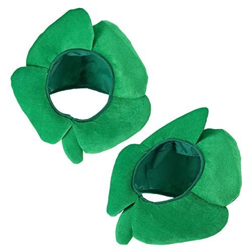 (BESTOYARD 2pcs Funny St Patricks Day Hats Four Leaf Clover Irish Shamrock Velvet Hats Ireland St Patricks Headgear Headband Costume)