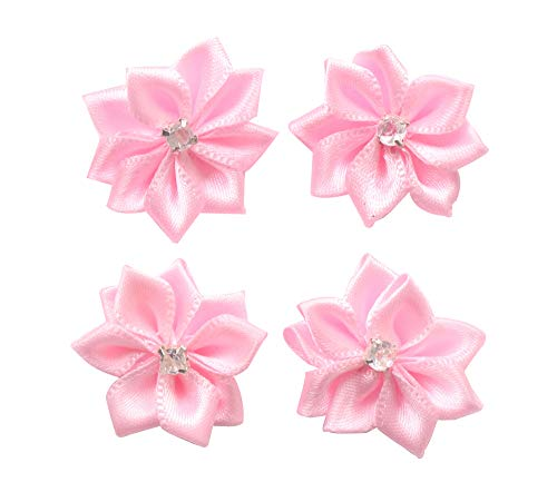 (YAKA 60pcs Pink Satin Ribbon Flowers Bows Rose w/Rhinestone Appliques Craft Wedding Ornament 1.1inch)