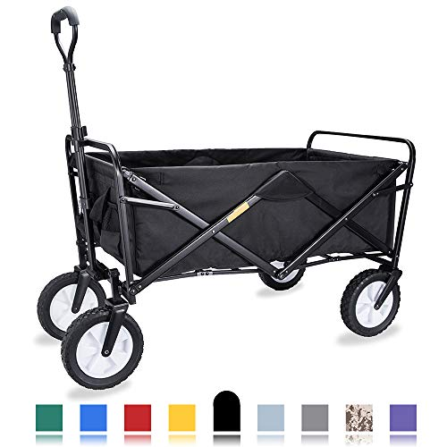 "WHITSUNDAY Collapsible Folding Garden Outdoor Park Utility Wagon Picnic Camping Cart with Replaceable Cover (Standard Size 8"" Wheels, Black)"