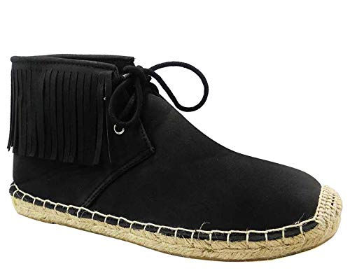 Top Charlie Black Cute Large Fringe Espadrille Booties Women Best Special New Fun Stocking Stuffer Gift Idea Vegan Suede Casual Comfy Short Cowboy Boot Shoe for Sale Ladies Teen Girl (Size 9, Black)