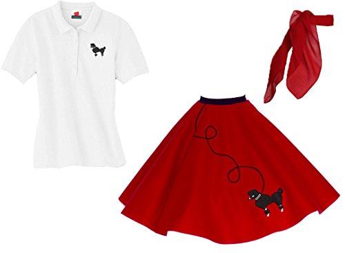 Hip Hop 50s Shop Adult 3 Piece Poodle Skirt Costume Set Red XXXLarge -