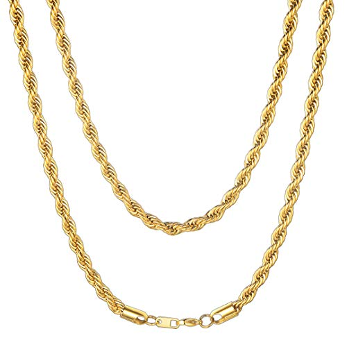 ChainsHouse Men Boys Twisted Style Rope Chain 6mm Wide 18K Gold Plated Stainless Steel Cord Necklace, Box, 22