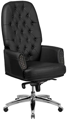 Flash Furniture High Back Traditional Tufted Black LeatherSoft Multifunction Executive Swivel Ergonomic Office Chair
