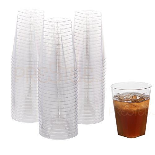 Clear Plastic Cups | 7 oz. 80 Pack | Hard Disposable Cups | Square Plastic Wine Cups | Plastic Cocktail Glasses | Small Plastic Drinking Cups | Plastic Party Cups | Bulk Wedding Plastic Tumblers (Glasses Wholesale Drinking)