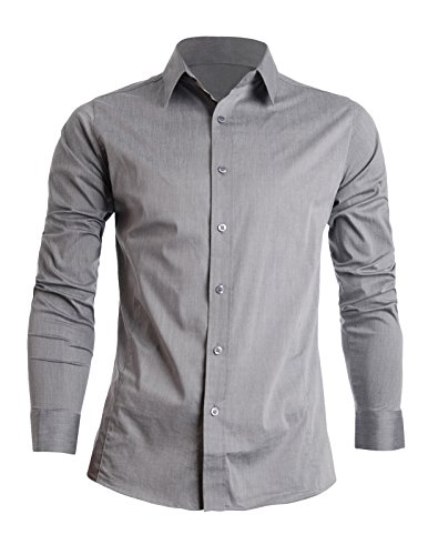 flatseven mens slim fit basic dress shirts long sleeve