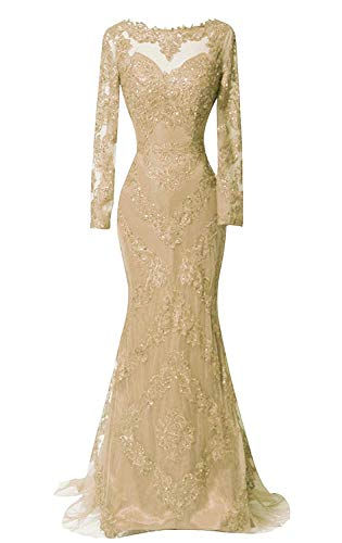 HelloLadyBridal Women's Illusions Lace Mermaid Prom Dress Long Sleeves Evening Formal Gown Champagne A 8