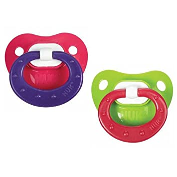 NUK Juicy Design Latex Pacifier Size 3 18-36m, 2pk, Pink & Purple