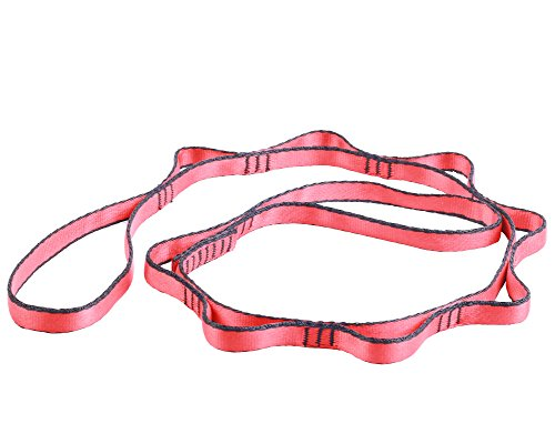 Nachvorn Daisy chain rope,1 Pack of 43 Inch Yoga Extend Belts, Stretch Out Strap,Strong Climbing Strap Adjustable Strap Rope,Red