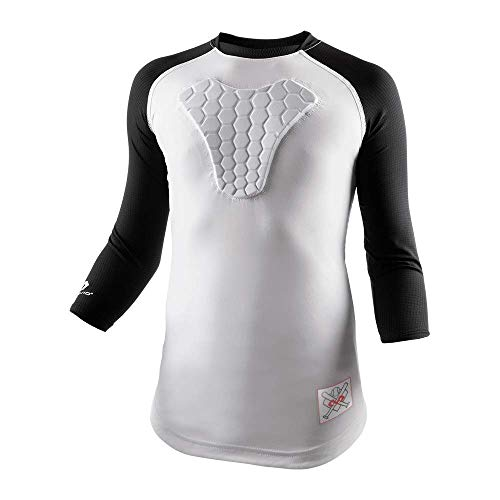 (McDavid Youth HEX Sternum Raglan 3/4 Sleeve Shirt (Large, Black))