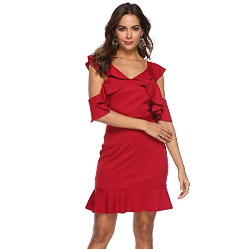 Cold Shoulder Ruffles Bodycon Party Club Mini Dress (XXL) ()