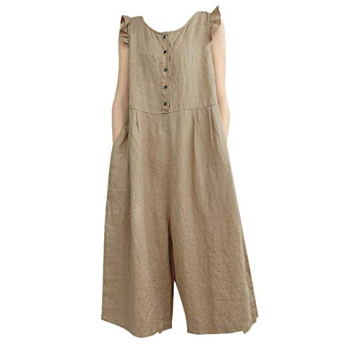 (QIQIU Womens Casual Loose Cotton Linen Pockets Solid Ruffle Sleeveless O-Neck Jumpsuit Playsuit Romper Khaki)