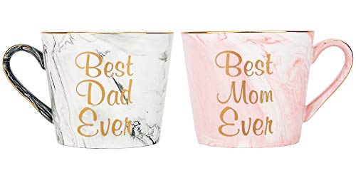 Happy Homewares Beautifully Designed Best Mom and Dad Grey and Pink Marble 12oz Ceramic Mugs with Golden Metal Trim Lovely Gift Idea for Loving Parents