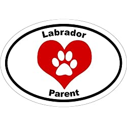 Labrador Decal - Oval Heart Paw Labrador Parent Vinyl Sticker - Labrador Retriever Bumper Sticker - Retriever Decal - Lab Decal - Perfect Labrador Retriever Gift - MADE IN THE USA
