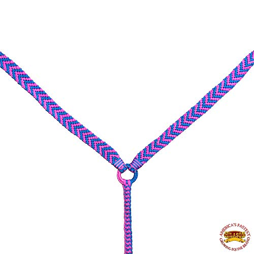 HILASON Horse Breast Collar Flat Braided Paracord Turquoise/Pink ()