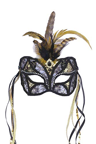 Forum Mardi Gras Costume Masquerade Mask/Lace With Feathers and Ribbon, Black/Gold, One Size -