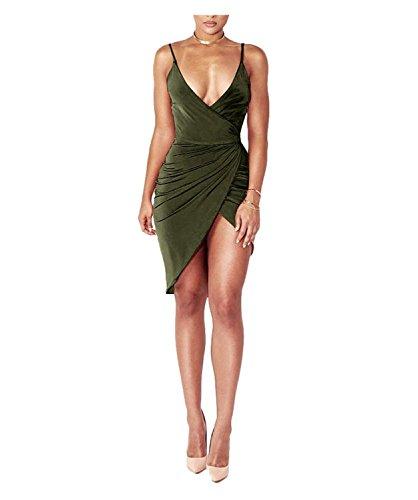 Sin Correa Frente Wrap Club Mujeres Vestido Profundo Vendaje De V Sexy Green Cuello Espagueti En Army Vestido Bodycon DRESHOW Rajado del Midi Mangas qY6wA7xx