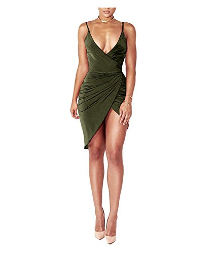 Robe Moulante sans Sangle Bandage Spaghetti Sexy Femmes Midi V Manches Club Nuque Slit Army 1 Avant Green Robe Profonde DRESHOW Wrap XAzq8T8