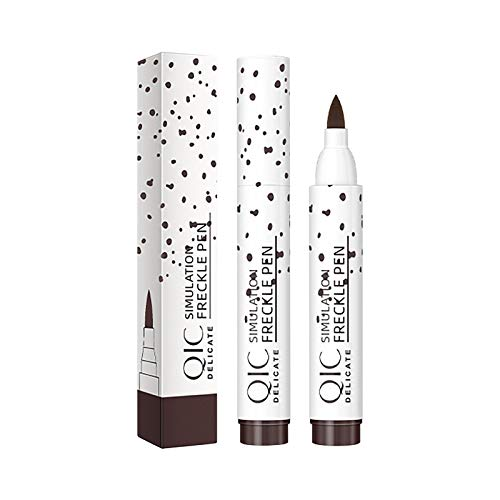 Freckle Pen for Women Girls Face Makeup Use Lightweight and Soft Tip 2 Colors Light Brown and Dark Brown Natural Sun Girlish Effect Waterproof Daily Life Party Sunny Day Makeup (Dark Brown)