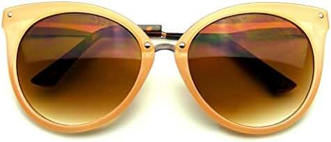 Emblem Eyewear - Pointed Horn Rimmed Indie Retro Cat Eye Sunglasses Metal Studs