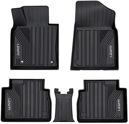 LASFIT Floor Liners Compatible for Toyota Camry 2018-2021 (Fit FWD Only, No Hybrid & No AWD), All Weather Guard Custom Fit Front & Rear TPE Car Floor Mats, Black