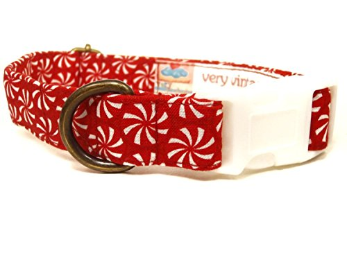 Peppermint Patty – Red White Peppermint Christmas Organic Cotton Pet Collar – Handmade in the USA