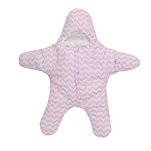 Newborn Infant Baby Starfish Bunting Cotton Sleeping Bag Winter Sacks Swaddling Blanket for 0-12 months(Pink)