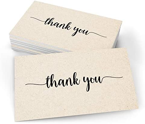 """321Done Thank You Note Cards (Set of 50) 3"""" x 5"""" - Blank on Back - Made in USA, Cute Modern Script Kraft Tan Thick Cardstock, Small"""