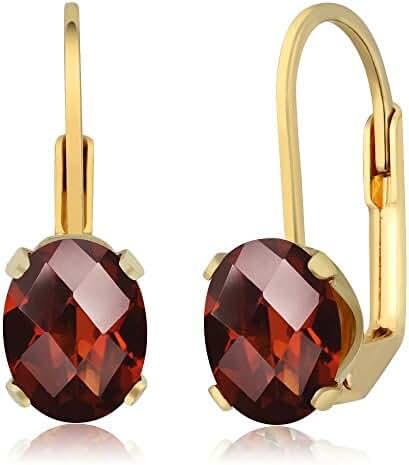 2.80 Ct Oval Checkerboard Shape Garnet Yellow Gold Plated Brass Dangle Earrings