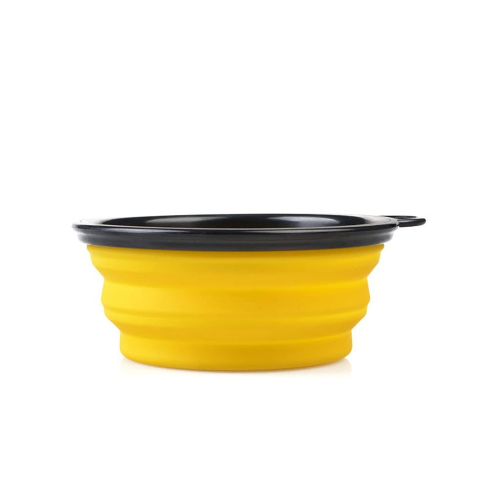 Forever-You Dog Bowl Cat Bowl Pet Silicone Bowl Out Hair Portable Foldable Food Basin, Yellow