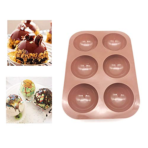 Bakeware Sets,Medium Semi Sphere Silicone Mold,Baking Mold for Making Hot Chocolate Bomb, Cake, Jelly, Dome Mousse, Healthy lifestyle, (2, Caramel).