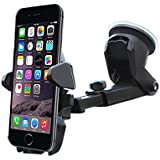 Car Phone Holder, ZACTEK, Long Neck Windshield Phone Holder Sticky Gel Pad with One-Touch for iPhone Andriod Phone Samsung Huawei ZTE VIVO OPPO Google Pixel Galaxy Edge NEXUS LG Smartphone (Black)