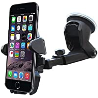 Car Mount Holder Cradle, Long Neck Car Phone Holder Windshield Gear with One Touch for iPhone Andriod Phone Samsung Huawei ZTE VIVO OPPO Google Pixel Galaxy Edge NEXUS LG Smartphone (Black)