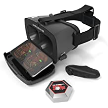 Tzumi Dream Vision VR Smartphone Headset – Adult Unisex Bluetooth Compatible Virtual Reality Headset - Includes Remote Controller and Retractable Earbuds for Enhanced Immersive Gameplay
